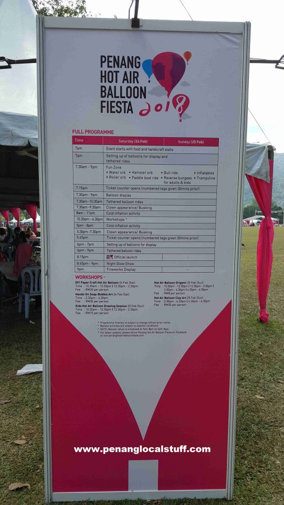 Penang Hot Air Balloon Fiesta 2018 Programmes