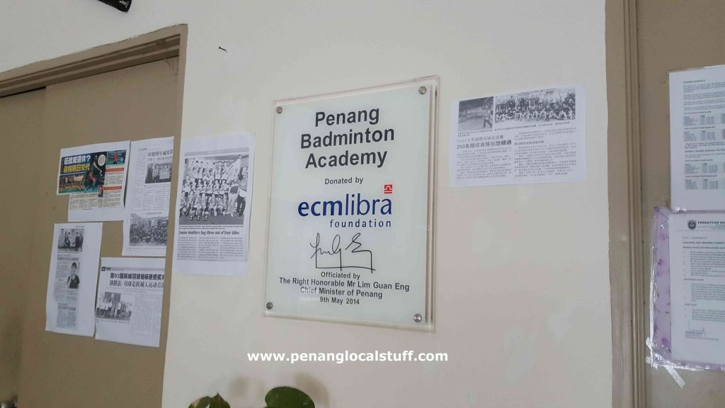 Penang Badminton Academy Official Opening Plaque