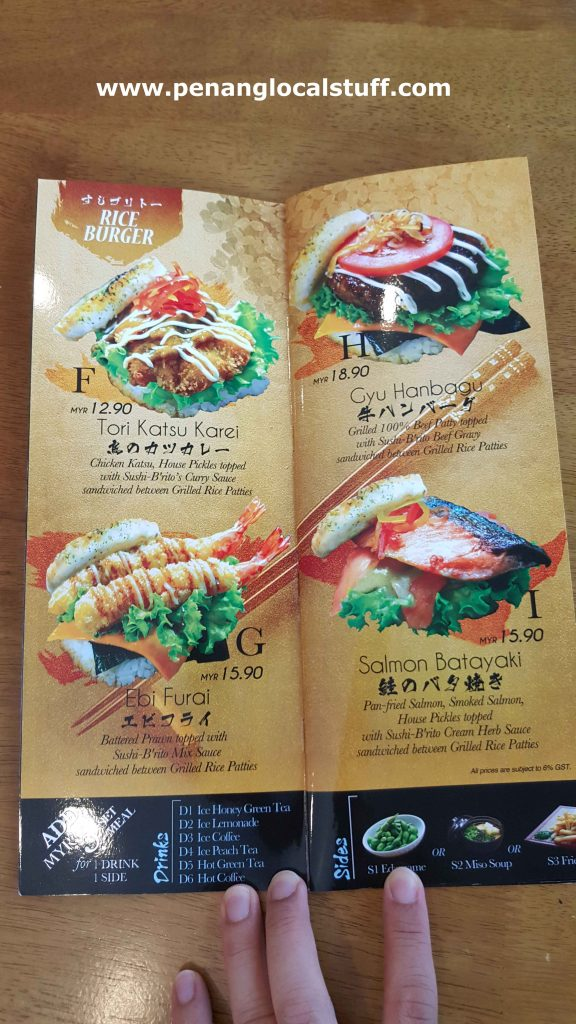 Rice Burger Menu